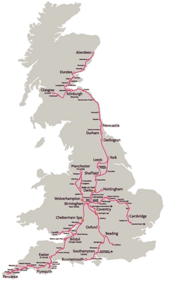 CrossCountry route map