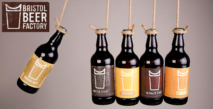 Five hanging beer bottles made by the Beer Factory