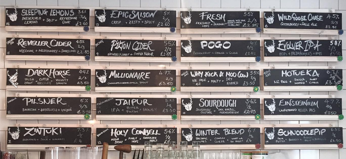 The bar menu on the wall in Wapping Wharf featuring beers with unusual names