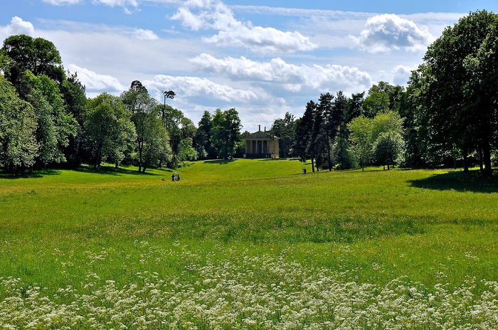 Landscape view of spring gardens at Stowe, Buckinghamshire.