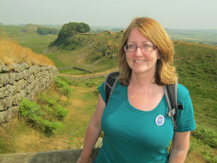 Blue Badge tour guide Laura Rhodes at Hadrian's Wall