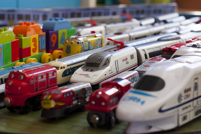 Lots of children's toy trains