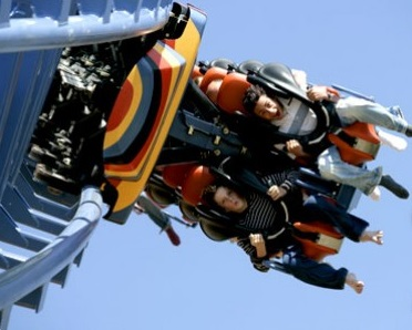 Riders are upside down on Kumali, Flamingo Land, York's flagship ride.