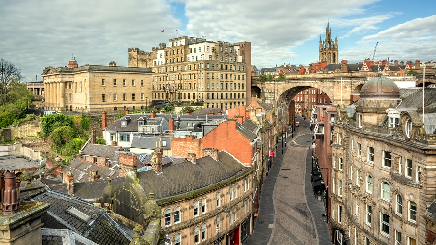 A day trip to Newcastle by train opens up many views of historic streets like this one; there's so much beautiful architecture and many interesting buildings.
