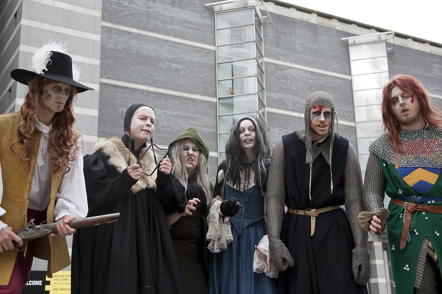 Enjoy some spooky goings on this Halloween at the Royal Armouries at Leeds, on a Family day out this autumn. Here staff dressed up as Zombies from a bygone era are staring menacingly out of the picture.