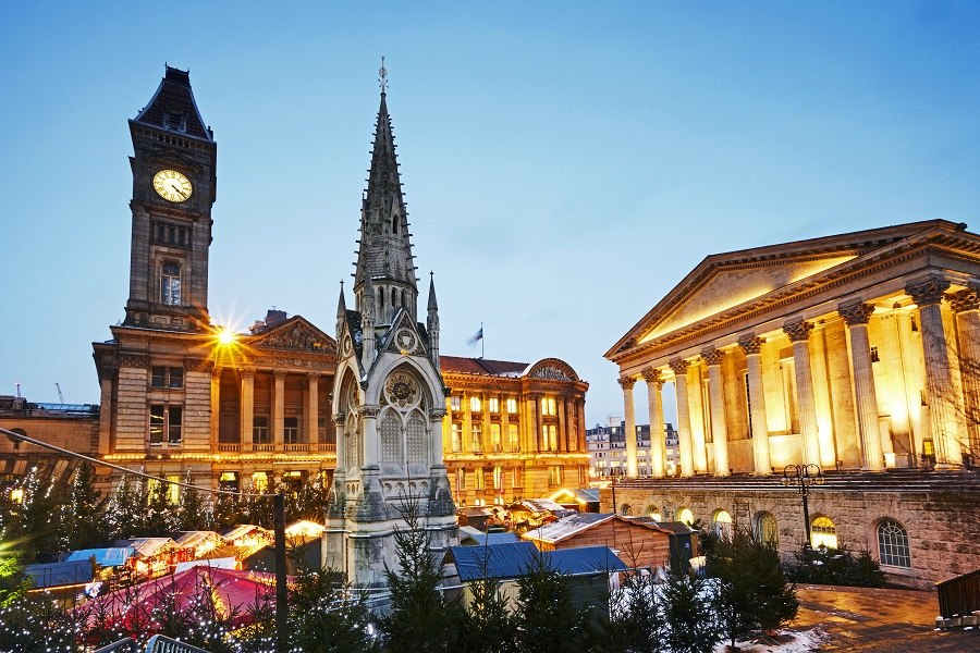 The Christmas market at Birmingham is a delight for all the family, featuring traditional wooden chalets alongside the iconic architecture of the city.