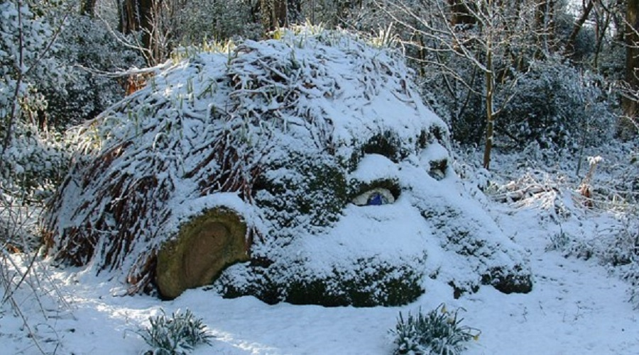 Snow covered sculptures make The Lost Gardens of Heligan seem even more magical.