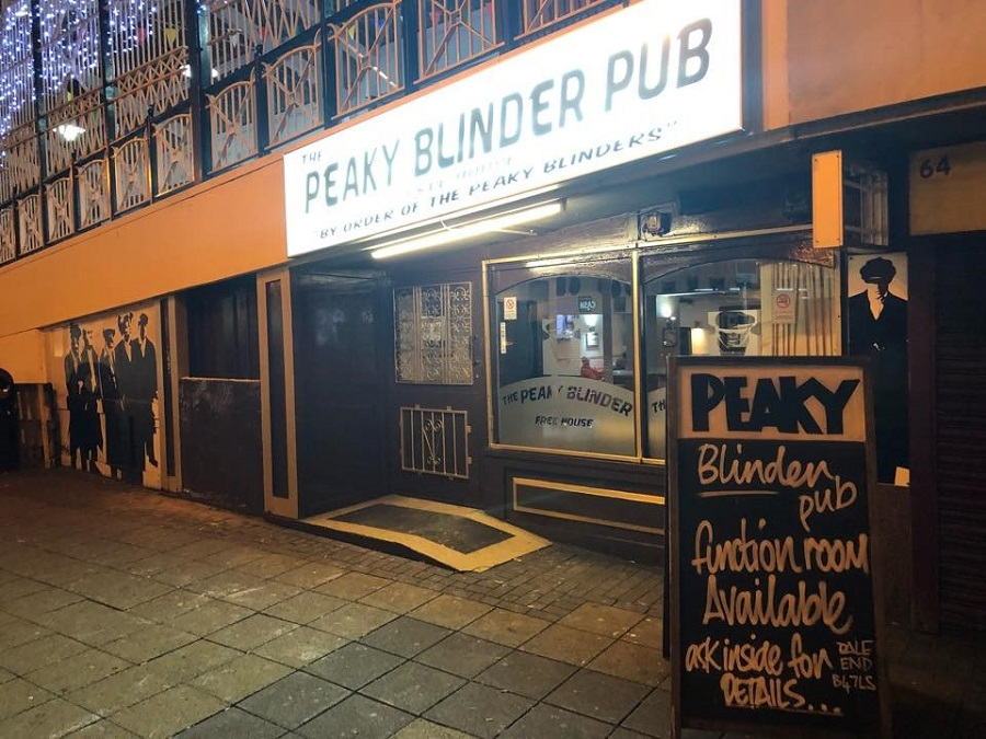 The entranceway into the 1920s themed Peaky Blinder Pub, where the Peaky Speakeasy is located below