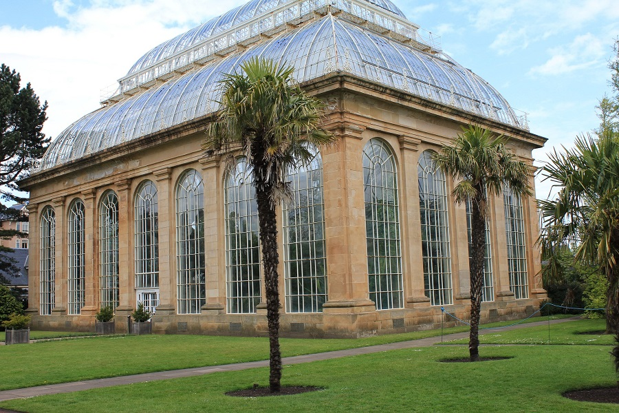 The exterior of the famous arboretum at the Royal Botanic Gardens Edinburgh with tall glass windows surrounded by 2 palm trees, grass and trees