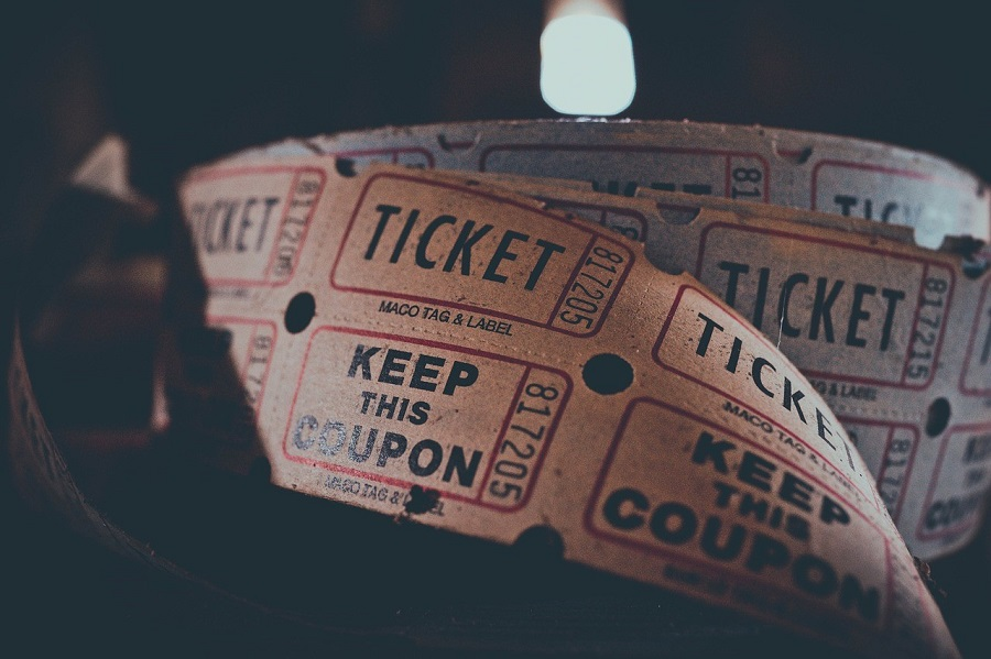 A close-up of a reel of tickets