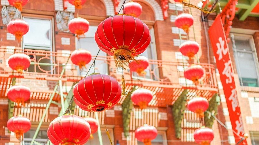 Red lanterns at the ready for Chinese New Year 2018.