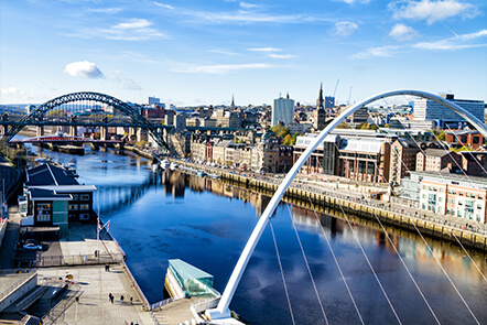 Two arching bridges over Newcastle's River Tyne