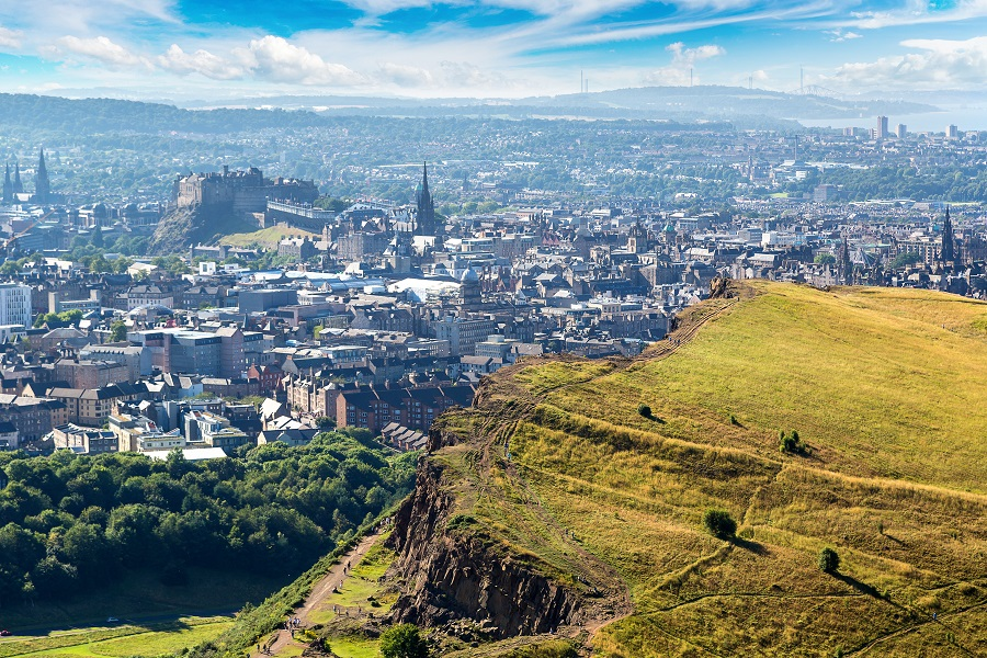 A view of Edinburgh city from the top of Arthur's Seat.
