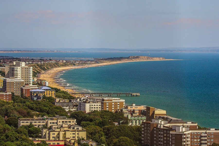 Bournemouth town's buildings overlooking the beautiful bay