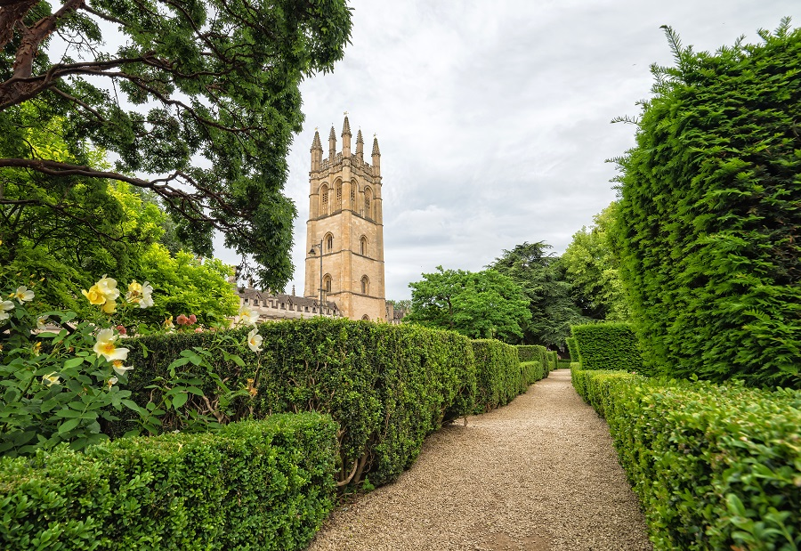 A honey coloured tower stands surrounded by gardens at Oxford Botanic Gardens.