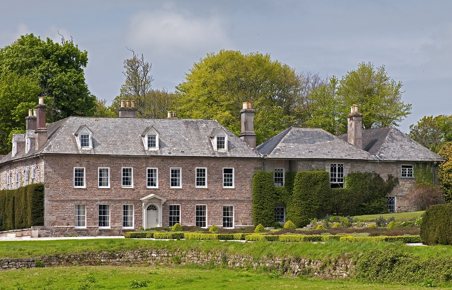 The exterior of Trereife House stood in amongst the green grounds