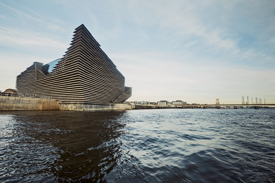 V&A Dundee's layered building sits beside the sea in Dundee and will be a new thing to do in Scotland.
