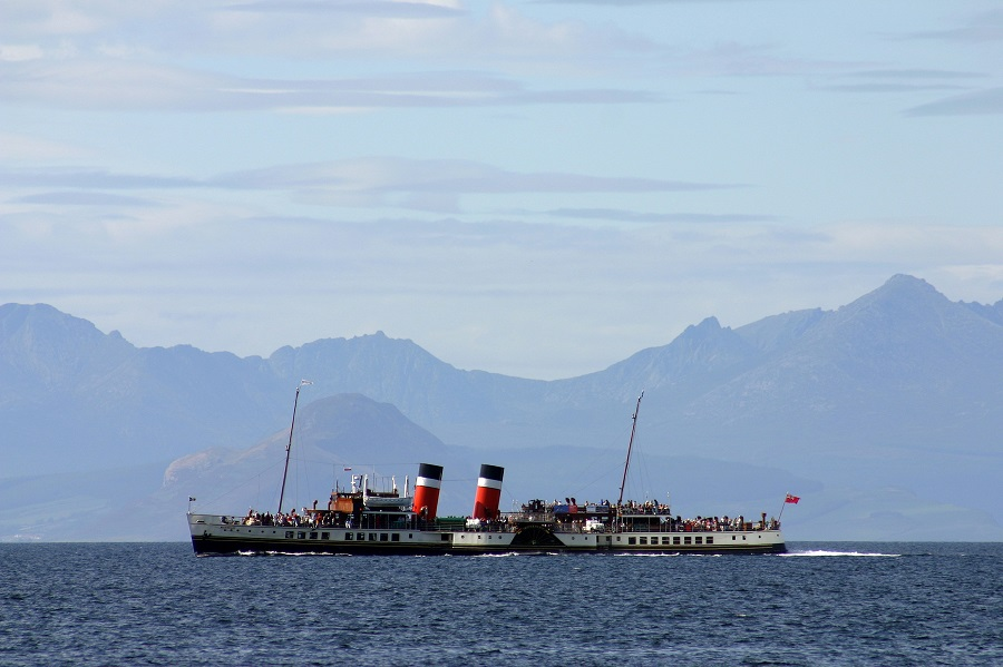 A great thing to do in Scotland is seeing the large Waverly Paddle Steamer ship moving along the ocean.