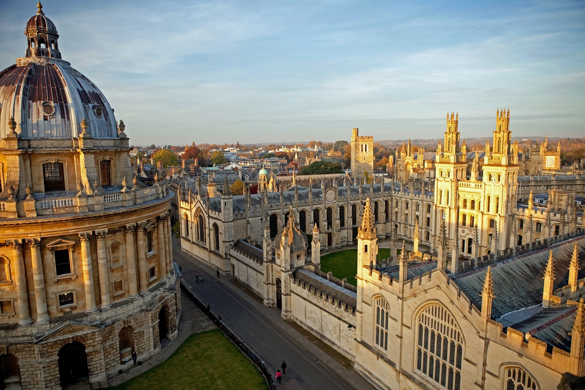 An aerial view of Oxford University looking down on the grand exterior of the building