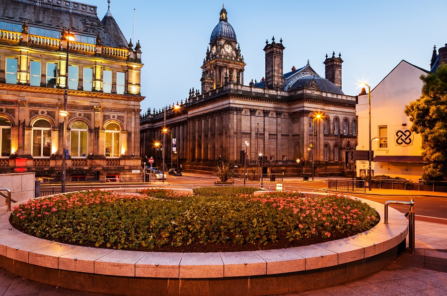 Leeds town hall is a grand building with a clock tower.