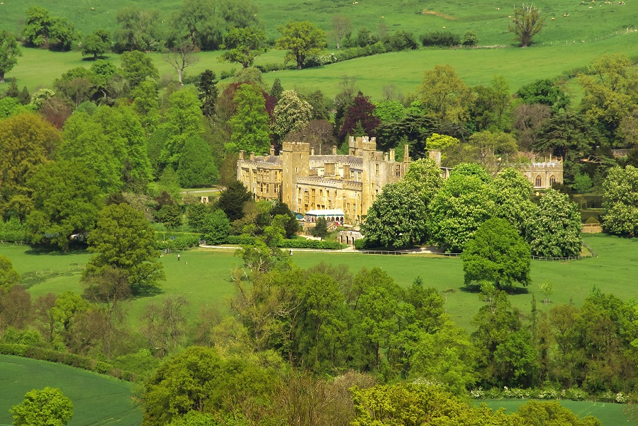 Sudeley castle is nestled into the lush green countryside which surrounds Winchcombe in The Cotswolds Area of Outstanding Natural Beauty.