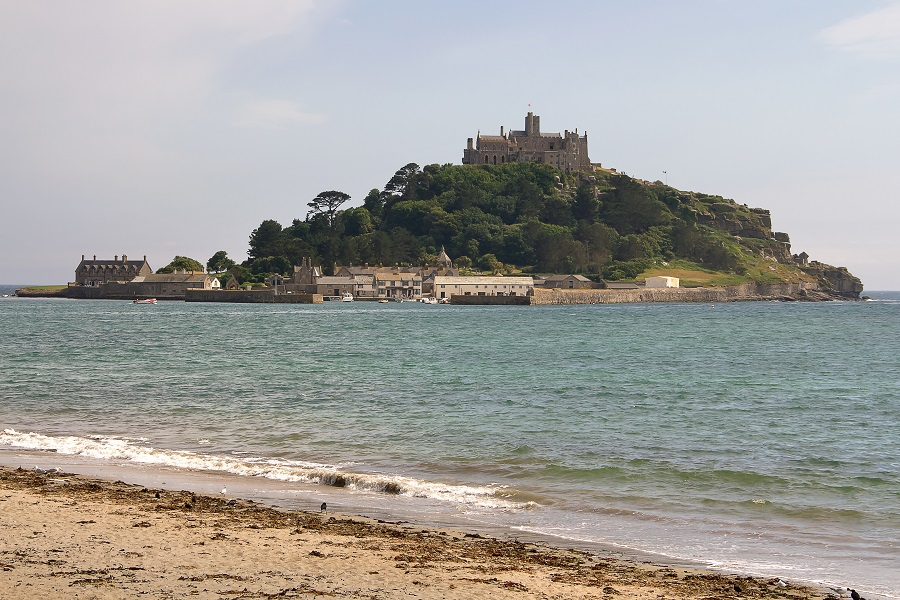 A castle on St Michael's Mount island in the sea near Penzance is a perfect place to take kids