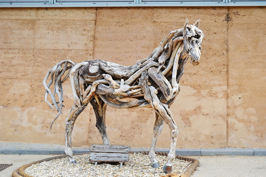 A horse sculpture made out of drift wood at the Eden Project.
