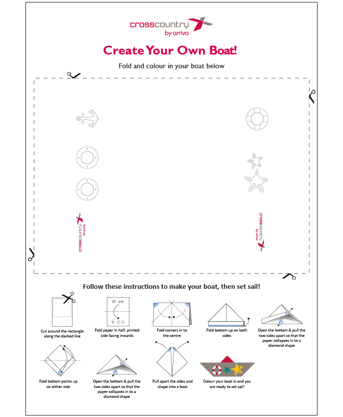 A print-out, fold and colour origami boat with instructions