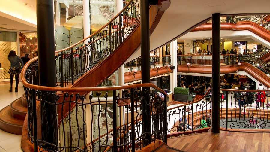 Winding staircases in Princes Square shopping centre on Glasgow Style mile.