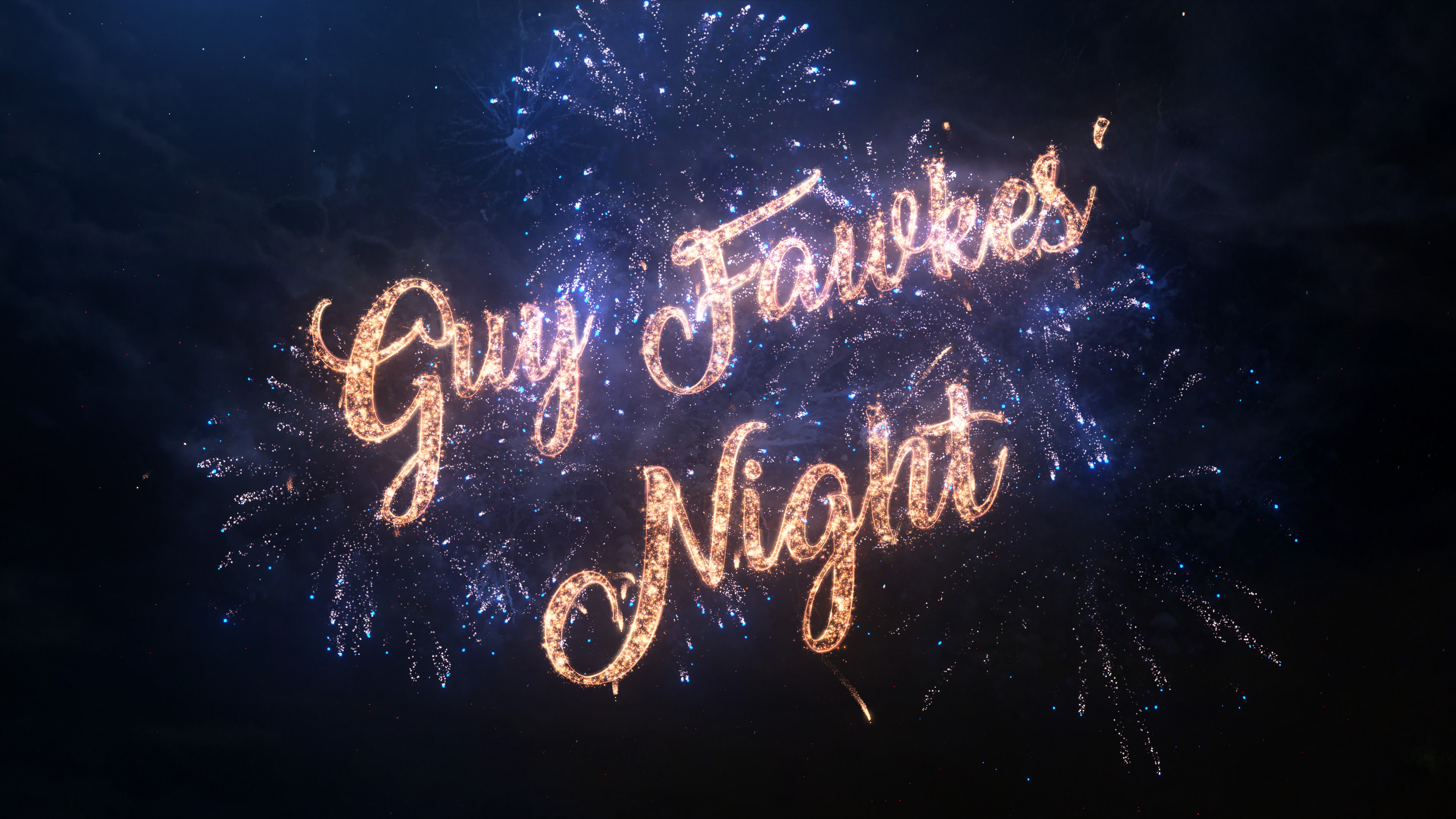 Guy Fawkes wording lit up in the night sky for the best bonfire nights in the UK