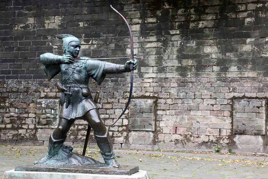 Celebrate World Poetry Day by visiting the statue of famous hero Robin Hood erected outside Nottingham Castle.