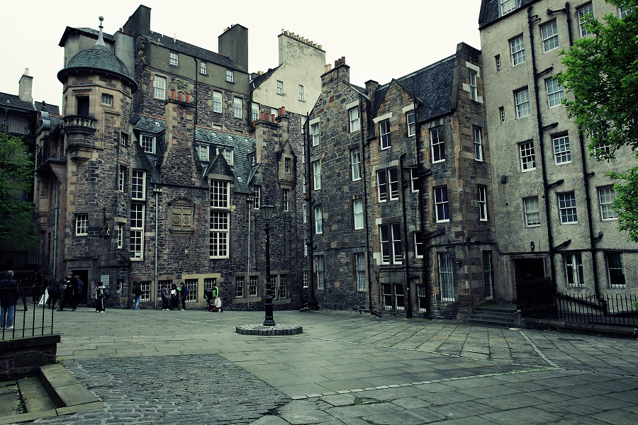 A weathered stone building in a square houses Edinburgh's Writers Museum and is a great location to visit for World Poetry Day.