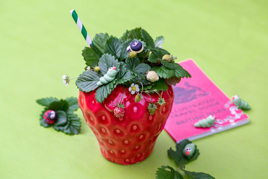 A ceramic pot in the shape of a strawberry with leaves and plastic bugs serves the strawberry field cocktail at her majesty's secret service, one of Bristol's secret bars.