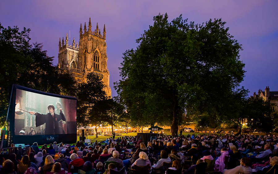 York Minster is in the background of an outdoor cinema in the UK.