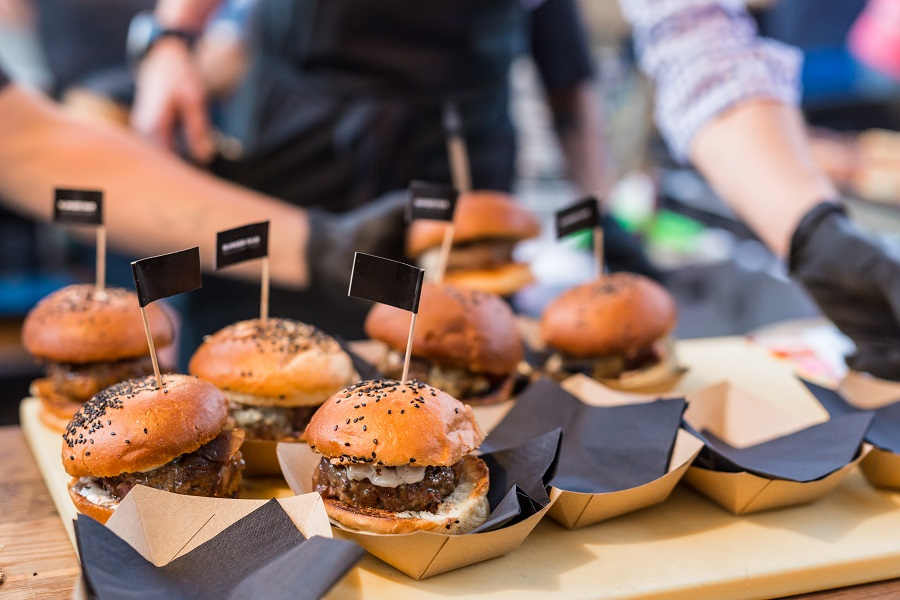 Burgers being prepared at one of the UK's best street food markets.