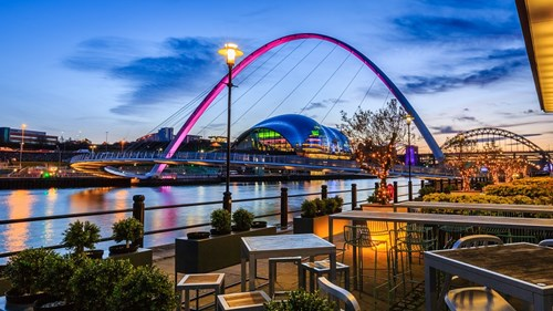 Newcastle's Quayside is lined with restaurants, bars and cafés.