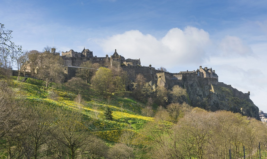 Edinburgh Castle on a sunny day, taken from Princes Street Gardens.