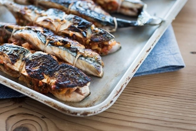 5 of Rick Stein's Cornish Mackerel Rechaedo fillets served on a tray.